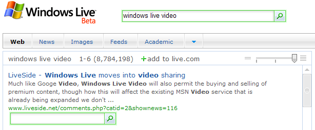 Windows Live SearchSite