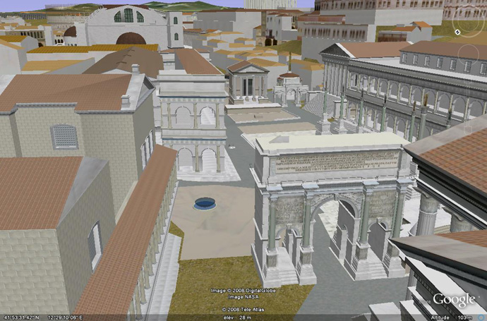 L'Arc de Septimus Rome dans Google Earth en 3D