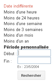 Options de dates, menu gauche de Google