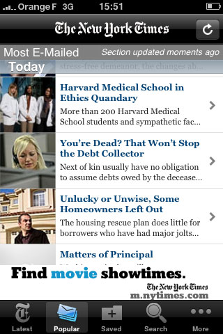 New York Times iPhone v 2.0