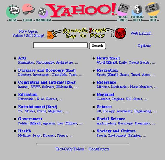 Les premier pas des sites populaires Yahoo_1995