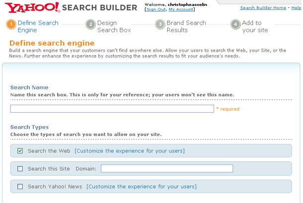 Yahoo! Search Builder